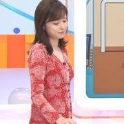久慈暁子アナ 胸のふくらみがエロいタイトなワンピース